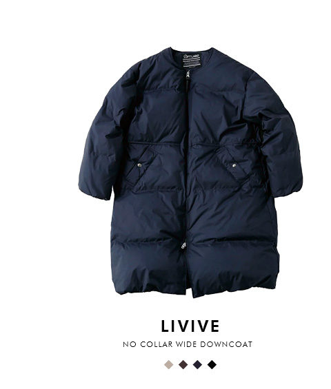 """The Loft Labo(ロフトラボ)×KAWADA FEATHER(カワダフェザー)<br>ノーカラーワイドダウンコート""""LIVIVE"""" tl18fjk17"""
