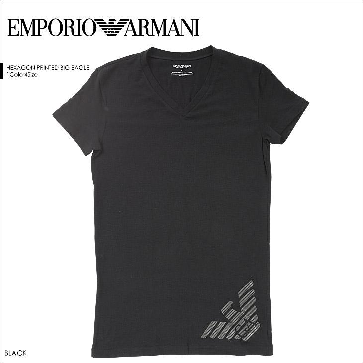 EMPORIO ARMANI エンポリオアルマーニ HEXAGON PRINTED BIG EAGLE 半袖 T-シャツ メイン画像